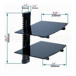 "Adjustable Dual AV Shelf Wall Mount with Cable Management System, Up to 22 lbs, W14.17"" x D9.84"" x H0.20"", SatMaximum"