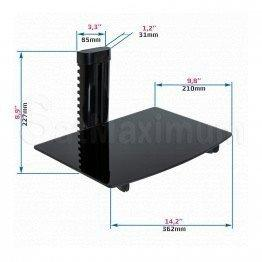 "Adjustable Single AV Shelf Wall Mount Cable Managent System  Up to 22lbs, W14.17"" x D9.84"" x H0.20"", SatMaximum"