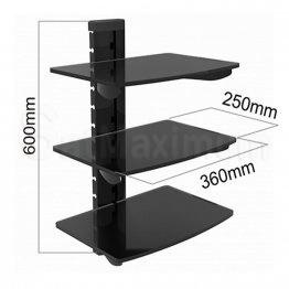 Adjustable Triple AV Shelf Wall Mount with Cable Management System, SatMaximum