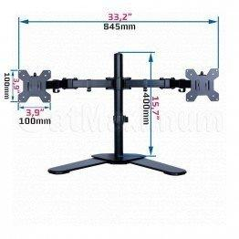 "Dual Desk TV Monitor Standing Mount Bracket for 17""-27"" Inch Double Heavy Duty LED LCD Arm VESA 75x100"