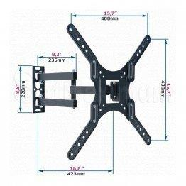 Full Motion TV Wall Mount Adjustable Bracket VESA 100-400, 23- 55 Inch,Tilt and Swivel, SatMaximum