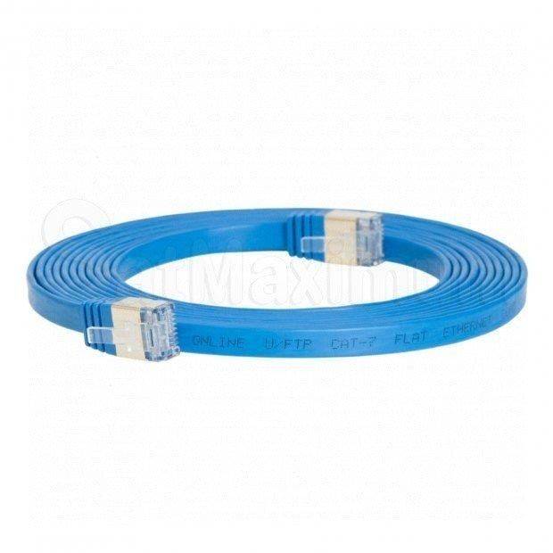 U/FTP CAT7 Patch Cord Gold-Plated Flat Shielded Network Ethernet LAN Cable, SatMaximum